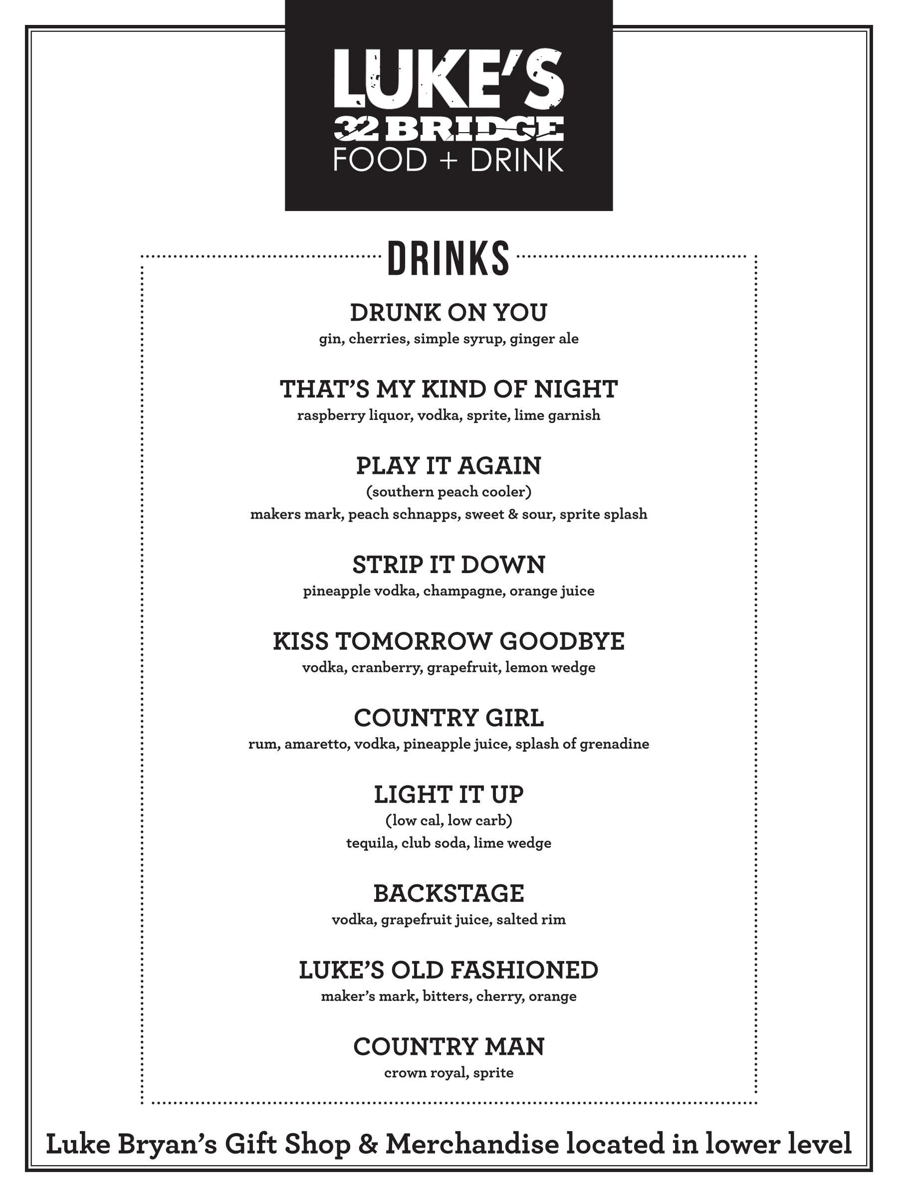 Lukes Drink Menu